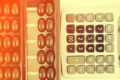 Perles et calculatrice en bois d'abaque Images libres de droits