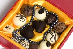 Perles et chocolat 2 Images libres de droits