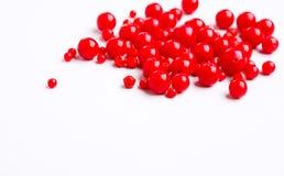 Perles rouges sur l'espace libre blanc de fond Photographie stock