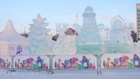 PERM, ΡΩΣΊΑ - 18 ΙΑΝΟΥΑΡΊΟΥ 2017: Πόλη 2017 Ekosad πάγου Perm - μεγαλύτερο στη Ρωσία στην ημέρα απόθεμα βίντεο