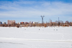 Perm, Ρωσία - 11 Μαρτίου 2017: Οι ψαράδες πιάνουν τα ψάρια Στοκ φωτογραφίες με δικαίωμα ελεύθερης χρήσης