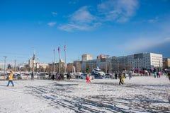 PERM, ΡΩΣΊΑ - 13 Μαρτίου 2016: Χειμερινή εικονική παράσταση πόλης Esplanade Στοκ Φωτογραφίες