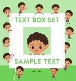 Perm hair boy_text box. Set of various poses of perm hair boy_text box Stock Images