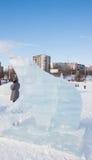 PERM, luty, 06 2016: lodowa rzeźba niedźwiedź na esplanadzie Obrazy Stock