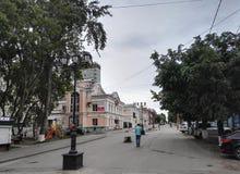 Perm, Rosja, Czerwiec 2017 Projekt jest podróżny w Rosja Chodząca ulica w Perm Fotografia Royalty Free