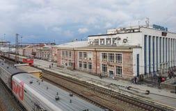 Perm, Rosja, Czerwiec 2017 Projekt jest podróżny w Rosja Perm II Perm Vtoraya stacja kolejowa Fotografia Stock