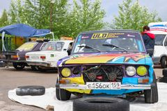 PERM ROSJA, JUL, - 22, 2017: Konkurenta samochód z nastrajaniem Obrazy Stock