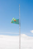 PERM, ROSJA, LIPIEC 04 2015: Podnośna lotnictwo flaga Obrazy Stock