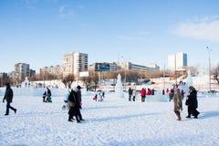PERM, Rosja, Luty, 06 2016: dorosli z dziećmi w lodowatym Zdjęcia Stock