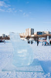 PERM, Rosja, Luty, 06 2016: lodowa rzeźba niedźwiedź Fotografia Stock