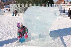 PERM, Rosja, Luty, 06 2016: piękna lodowa rzeźba a Zdjęcie Stock