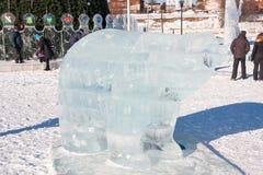 PERM, Rosja, Luty, 06 2016: piękna lodowa rzeźba a Fotografia Royalty Free