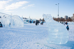 PERM, Rosja, Luty, 06 2016: piękna lodowa rzeźba a Zdjęcie Royalty Free