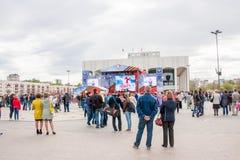 Perm Rosja, Maj, - 09 2016: Ludzie na wakacje Fotografia Stock