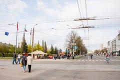 Perm Rosja, Maj, - 09 2016: Ludzie spaceru na Lenin ulicie Zdjęcie Stock