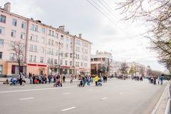 Perm Rosja, Maj, - 09 2016: Ludzie spaceru na Lenin ulicie Zdjęcia Royalty Free