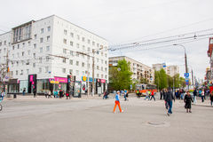 Perm Rosja, Maj, - 09 2016: Ludzie spaceru na Lenin ulicie Obrazy Stock