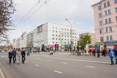 Perm Rosja, Maj, - 09 2016: Ludzie spaceru na Lenin ulicie Zdjęcia Stock