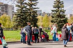 Perm Rosja, Maj, - 09 2016: Uliczny handel w wakacyjnym dniu Obraz Royalty Free