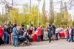 Perm Rosja, Maj, - 09 2016: Uliczny handel w wakacyjnym dniu Obrazy Royalty Free