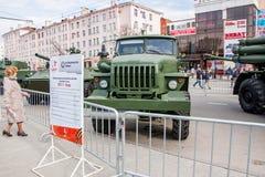 Perm Rosja, Maj, - 09 2016: Wystawa militarni technics Fotografia Royalty Free
