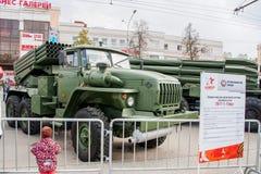 Perm Rosja, Maj, - 09 2016: Wystawa militarni technics Obraz Royalty Free