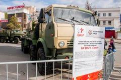 Perm Rosja, Maj, - 09 2016: Wystawa militarni technics Zdjęcia Stock