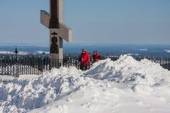 Perm Rosja, Marzec, - 08 2017: Królewski krzyż na Białej górze Fotografia Royalty Free