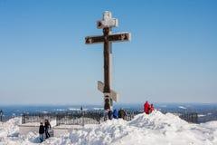 Perm Rosja, Marzec, - 08 2017: Królewski krzyż na Białej górze Zdjęcia Royalty Free