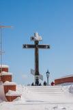 Perm Rosja, Marzec, - 08 2017: Królewski krzyż na Białej górze Obraz Royalty Free