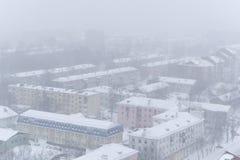 PERM ROSJA, MARZEC, - 02, 2018: obszar miejski podczas opadu śniegu Obrazy Stock