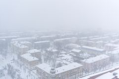 PERM ROSJA, MARZEC, - 02, 2018: obszar miejski podczas opadu śniegu Obrazy Royalty Free