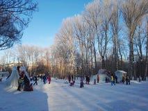 Perm, Rosja, Styczeń 2017 Projekt jest podróżny w Rosja ludzie ma zabawę w parku Zdjęcia Royalty Free