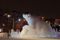 Street of Lenin in the city of Perm is decorated with a snow scu Royalty Free Stock Photos
