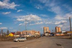 Perm, Russia - aprile 16,2016: Costruzione di nuovo ad alta altitudine Fotografie Stock