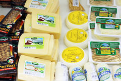 PERM, RUSSIA - AUG 18, 2014: Cheese in Russian shop. Stock Photography