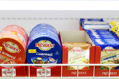 PERM, RUSSIA - AUG 18, 2014: Diffrent varieties of cheese. PERM, RUSSIA - AUG 18, 2014: Diffrent varieties of President cheese in Russian shop. Aug 6, 2014 Stock Image