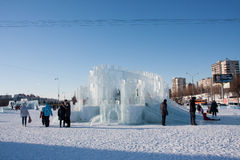 PERM, Russia, February, 06.2016: adults with children in an icy town Stock Photography
