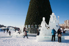 PERM, Russia, February, 06.2016: Icy new year's town on the Espl Royalty Free Stock Photos