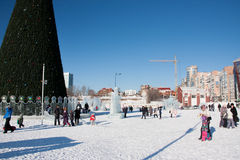 PERM, Russia, February, 06.2016: Icy new year's town Royalty Free Stock Image
