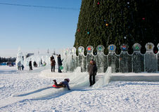 PERM, Russia, February, 06.2016: Icy new year's town Royalty Free Stock Photography