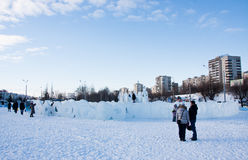 PERM, Russia, February, 06.2016: icy town on the Esplanade Royalty Free Stock Image