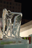 PERM, RUSSIA - JAN 11, 2014: Biathlonist sculpture in Ice town Royalty Free Stock Images