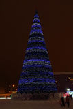 PERM, RUSSIA - JAN 11, 2014: Christmas tree in Ice town Stock Photos
