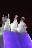 PERM, RUSSIA - JAN 11, 2014: Horse triple sculpture in Ice town Stock Images