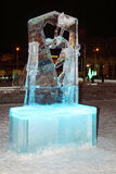 PERM, RUSSIA - JAN 11, 2014: Illuminated Figure skater sculpture Royalty Free Stock Images