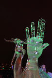 PERM, RUSSIA - JAN 11, 2014: Illuminated sculpture Hand Stock Image