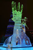 PERM, RUSSIA - JAN 11, 2014: Illuminated sculpture Hand Royalty Free Stock Photo