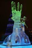PERM, RUSSIA - JAN 11, 2014: Illuminated sculpture Hand royalty free stock photo