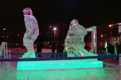 PERM, RUSSIA - JAN 11, 2014: Illuminated sculpture hockey player Royalty Free Stock Images